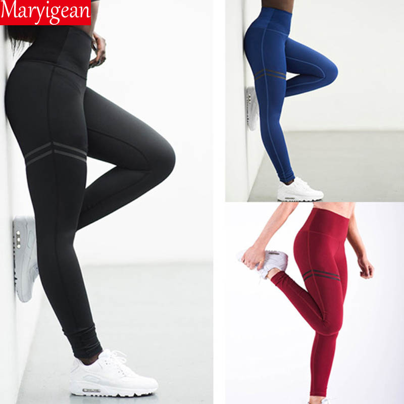 Maryigean Activewear High Waist Fitness Leggings Women Pants Fashion Patchwork Workout Legging Stretch Slim Sportswear Jeggings