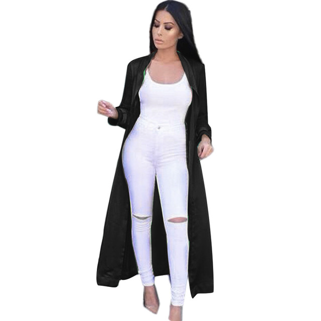 Chic And Modern Women's Sexy Casual Long Sleeve V-neckline Solid Long Coat blusas Ladies Fashion Satin Coat Free shipping