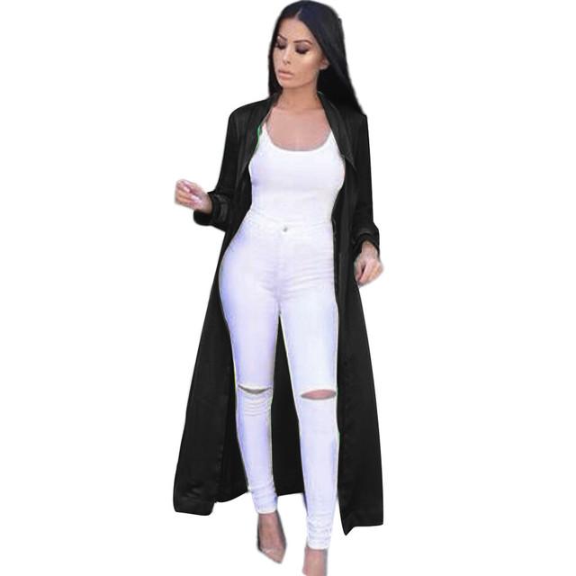 Chique E Moderno das Mulheres Sexy Casual Manga Comprida V-decote Long Coat Sólidos blusas Das Senhoras Da Forma Casaco De Cetim frete grátis