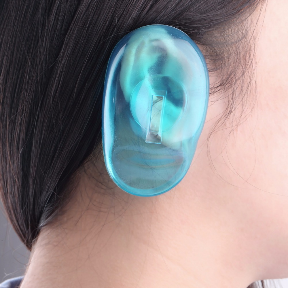 2PCS Salon Hair Dye Clear Blue Silicone Ear Cover Shield Barber Shop Anti Staining Earmuffs Protect Ears From The Dye(China)