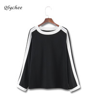 Qlychee Color Block Stripe Patchwork Women T Shirt Sleeve Long Sleeve O Neck Fashion Loose Basic