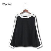 Qlychee Color Block Stripe Patchwork Women T Shirt Sleeve Long Sleeve O Neck Fashion Loose Basic