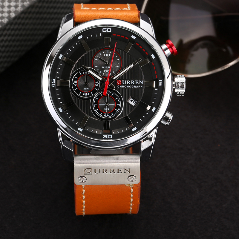 CURREN 8291 Luxury Brand Men Analog Digital Leather Sports Watches Men\`s Army Watch Man Quartz Clock Relogio Masculino drop shipping wholesale cheap 2019 (4 (5)