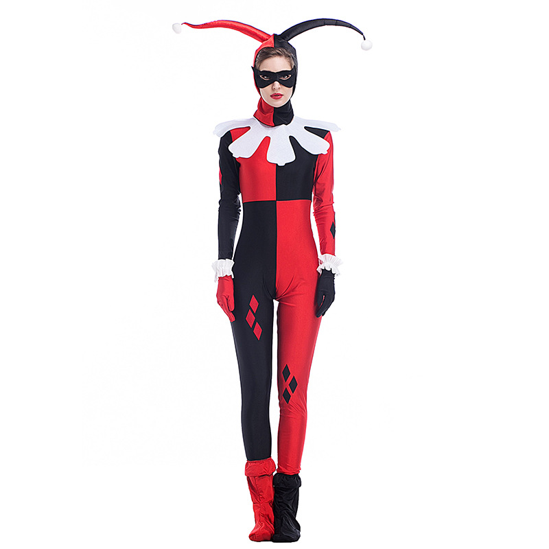 Harley Quinn Costume Jumpsuit Red And Black Villian Jester Cosplay Adult Womens Halloween Costumes Dress Up Game Costume