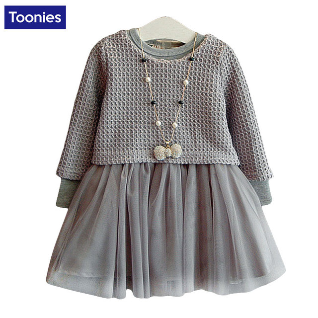 Long Sleeve Girl Clothing Set Dress + Top Suit Autumn Cotton Kids Suits Toddler Girls Dresses Sets Knitted Children's Clothing