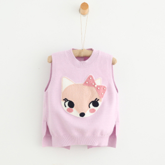 New 2016 Girls Vest Imported-clothing Autumn Fashion Children Vest Knitted Cartoon Vest Kids 2 Colors Pink Outwear Girls Clothes