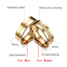 Trendy Wedding Bands Rings for Women / Men Love Gold-color Stainless Steel CZ Promise Jewelry