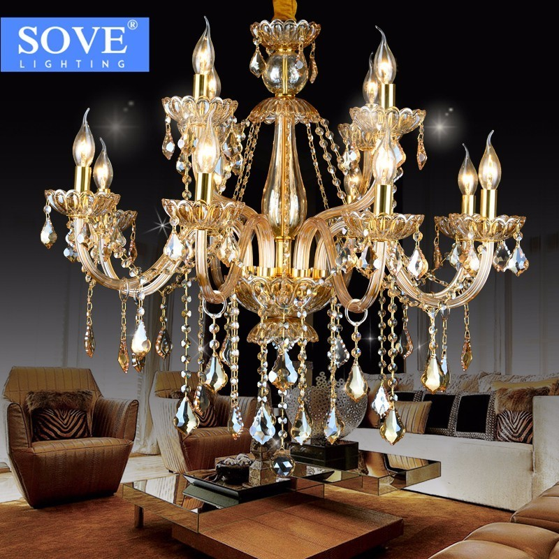 SOVE Lustre Chambre Gold Chandelier Style Modern Crystal Chandelier Lighting Luxury Cognac Glass Light Murano Glass Chandelier dale chihuly style art murano glass lamp multicolor handmade blown glass chandelier light fixture