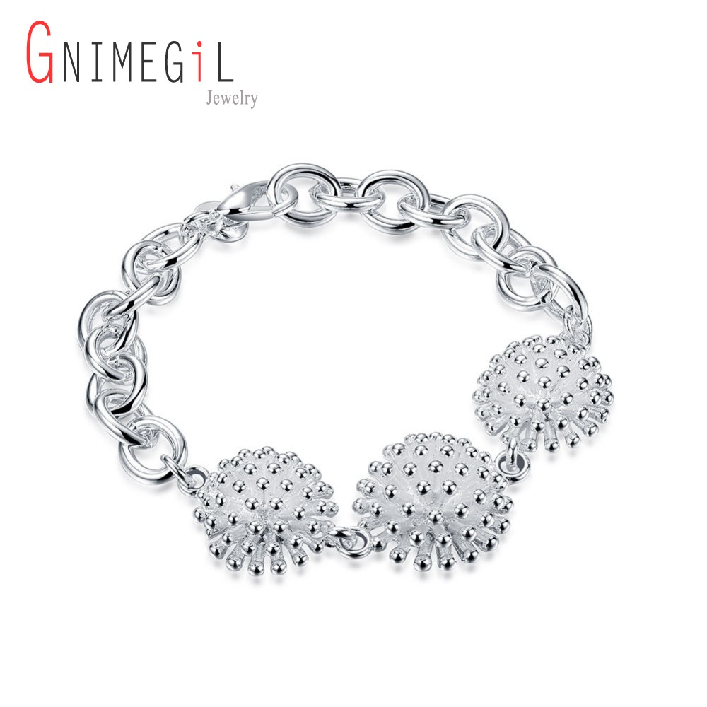 Active Gnimegil Jewelry Silver Color Lobster Clasp Chains Bracelets For Women Party Engagement Gifts Fireworks Bracelets Wholesale Durable In Use