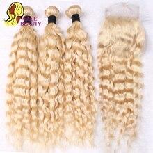 Facebeauty Peruvian 613 Honey Blonde Curly Human Hair Extensions 3 Deep Wave Bundles Peruvian Virgin Hair with Closure,4Pcs/Lot