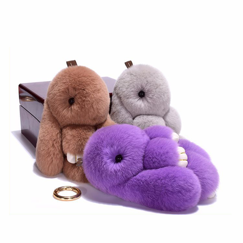 14cm Cute Pluff Bunny Keychain Rex Genuine Rabbit Fur Key Chain For Man Women Bag Toys Doll Fluffy Pom Pom Lovely Small Pendant