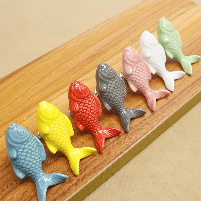 10pcs Hardware factory cartoon color single-hole ceramic handle carp bookcase drawer cabinet