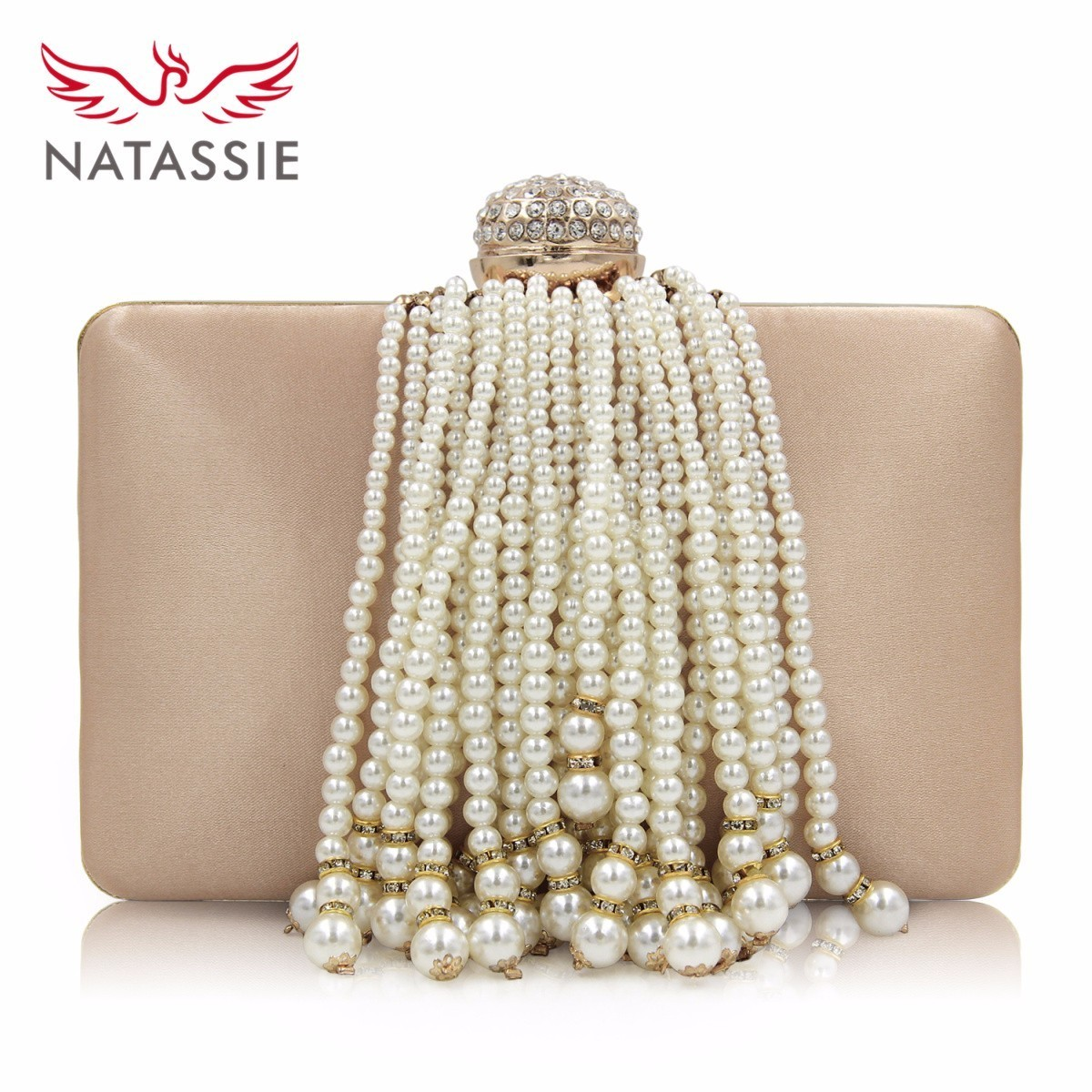 f3c893fdd9e NATASSIE Pearl Tassel Women Clutch Bag Female Evening Bags Ladies Gold Clutch  Purses Girl Party Wedding