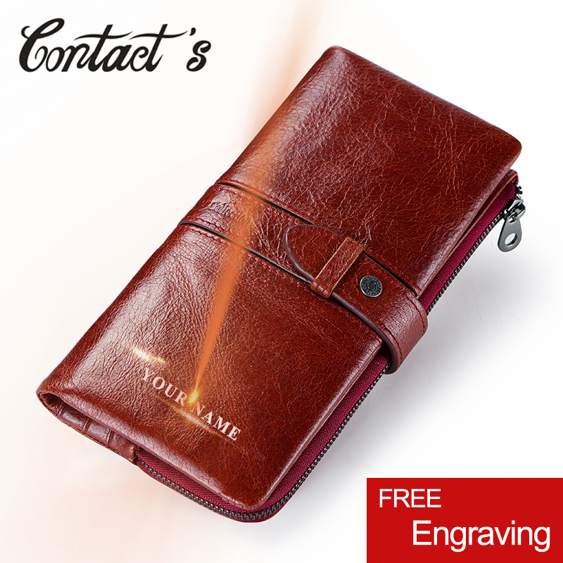 Women Wallets Long Zipper Genuine Leather Coin Purse Fashion Card Holde