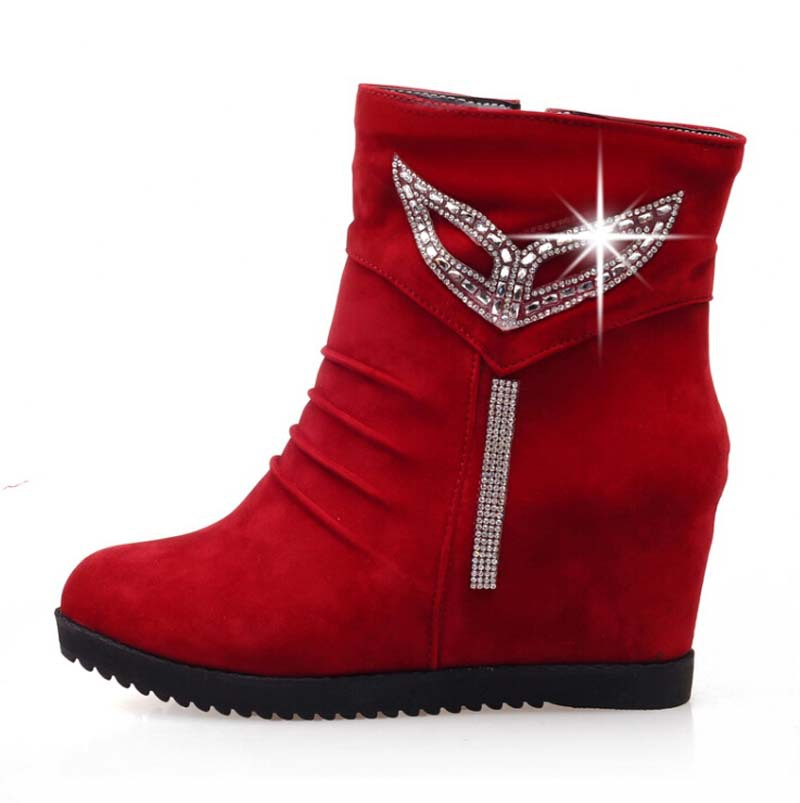 Airfour new women boots winter Rhinestone ankle boots high platform fur inside round toe motorcycle shoes women Wedges zipper от Aliexpress INT