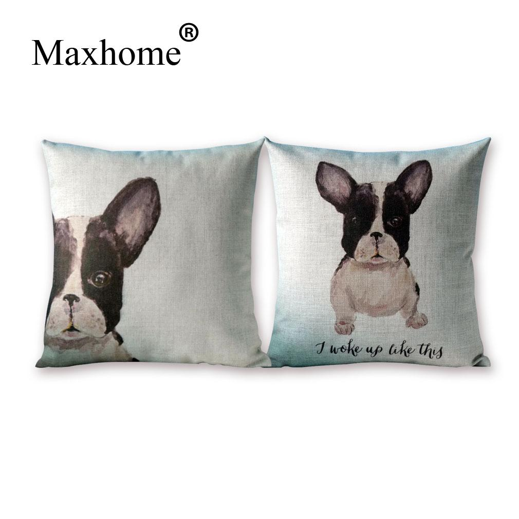 Nordic Simple Small Adorable Dog Printed Pillowcase Luxury Cotton Linen Cusions  Decorative Pillow Home Decor Throw Pillow 45*45