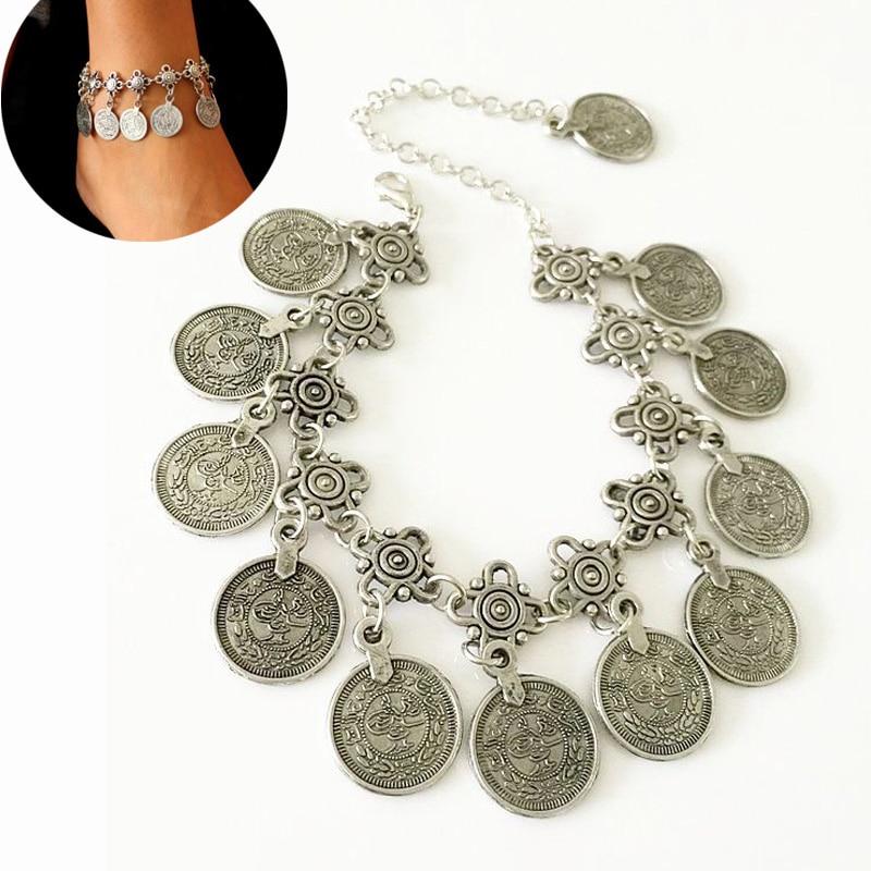 Bohemian Metal Tassel Anklet Vintage Ethnic Coin Charm Coin Ankle Bracelet Foot Jewelry Tornozeleira Femininas Anklets For Women