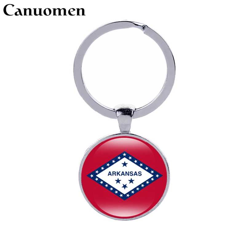 Canuomen Idaho State Flag Keychain Arkansas Alabama Alaska Iowa America 50 States Glass Cabochon Car Key Accessories Women Gift