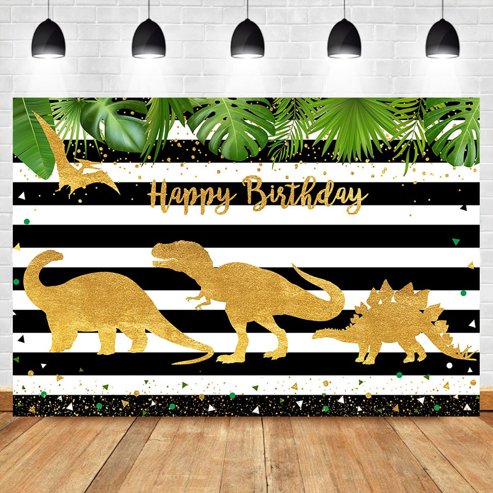 NeoBack Dinosaur Happy Birthday Backdrop Golden Kids Child Party Banner Decorations Supplies