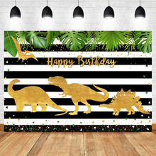 NeoBack Dinosaur Happy Birthday Backdrop Golden Kids Child Party Banner Decorations Supplies