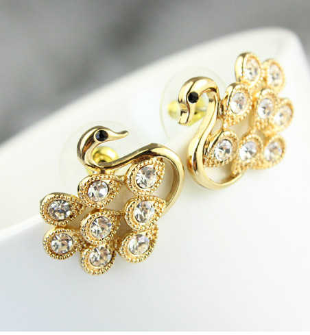 2014New Mode Exquisite Korean Einzigartige Nette Cystal Strass Hohl Swan Stud Ohrringe E2306