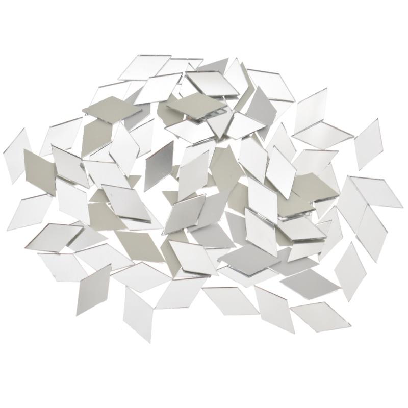 100PCS Glass Mirror Mosaic Tiles Bulk Diamond Shape DIY Craft Handcrafted Accessory Home Wall Artwork Decor Supplies