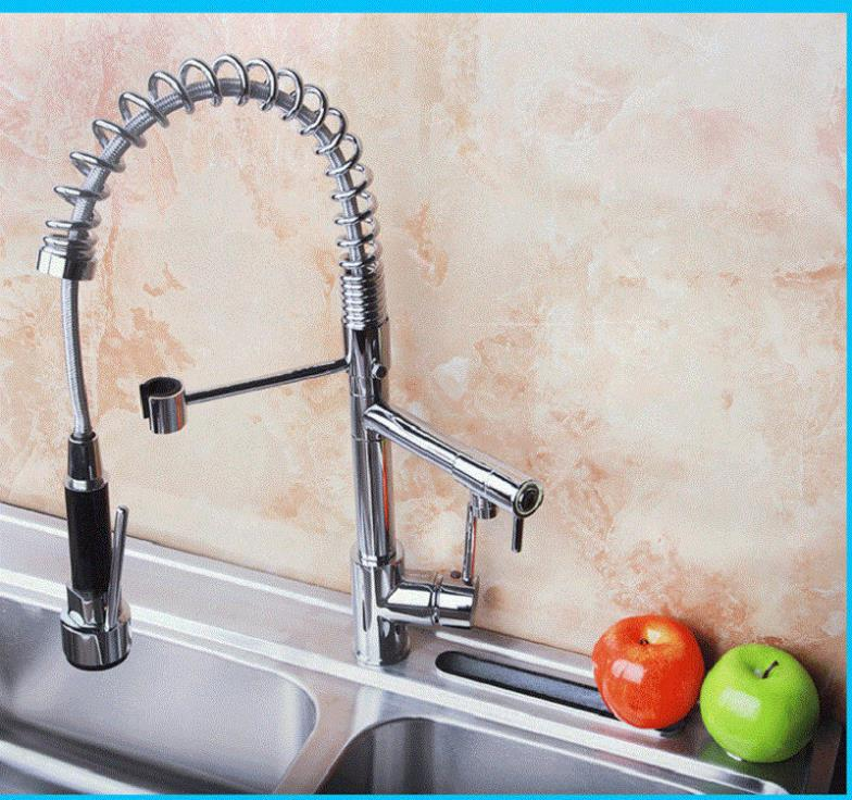 NL Best Chrome Polished Pull Out Spray Kitchen Faucet Double Hanlde Brass Eco friendly Mixer Tap