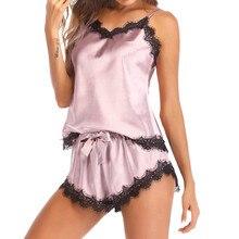 Womail Bow Sleepwear Sleeveless Strap Nightwear Lace Trim Sa
