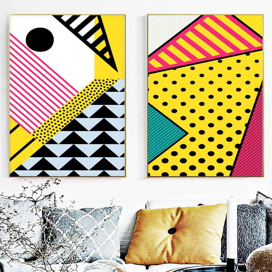 Colorful Geometry Abstract Art Print Wall Art Canvas Painting Nordic Posters And Prints Wall Pictures For Living Room Wall Decor