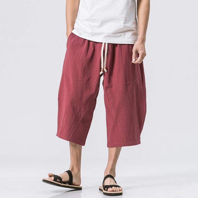 Icpans Mens Linen Trouser Elastic Waist Wide Leg Pants