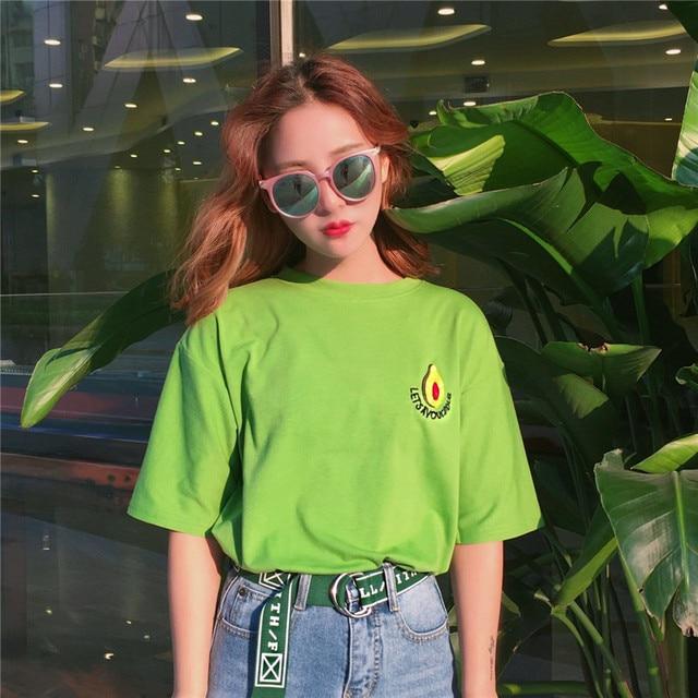 Harajuku Mode Korte Mouw Vrouwen T-shirt Zoete Leuke Avocado Borduurwerk Student T-Shirt Katoen Losse Groene Vrouwen Tops