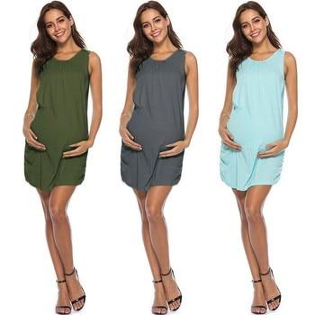 970d740db Vestido de ropa para mujeres embarazadas mamá embarazada enfermería  maternidad chaleco sin mangas vestido de ropa