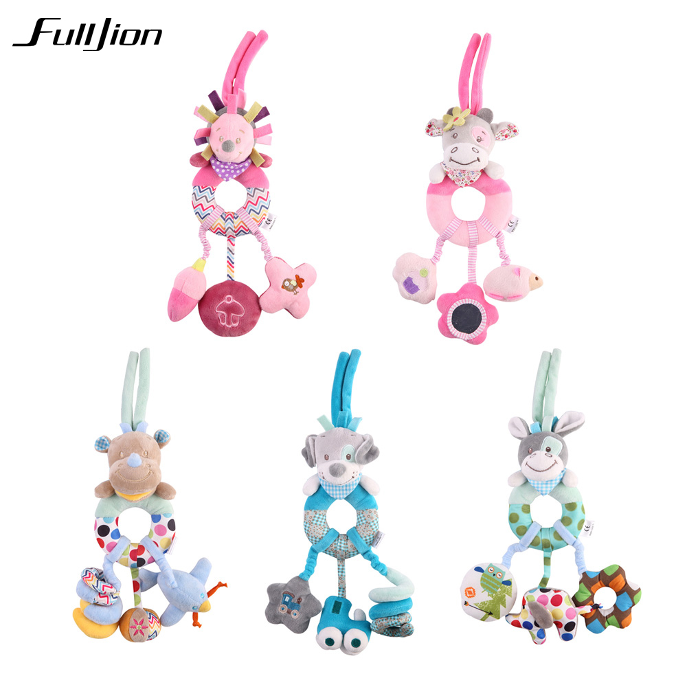 Fulljion Baby Toddler Toys Strollers Rattle Mobiles Stuffed Animal Doll Plush Musical Multifunctional Hand Bell Educational Toys