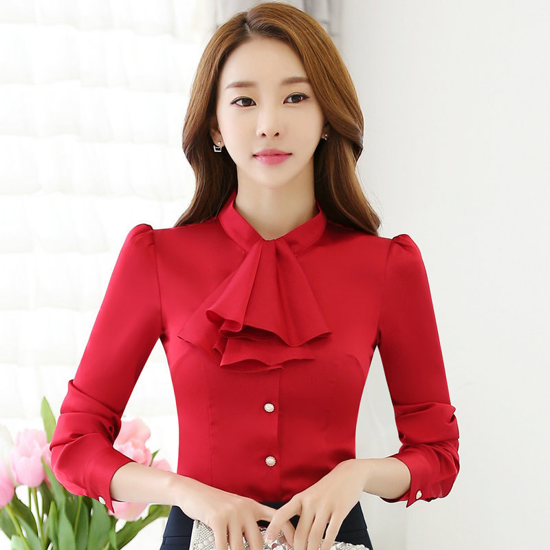 Korean version of the new long-sleeved shirt Slim professional work clothing blouses      AL6