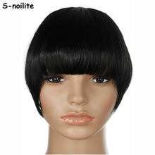 S-noilite US Stock Clip in False Bangs Neat Fringe Hair Extensions One Piece Staight Synthetic Black Brown Blonde Red(China)