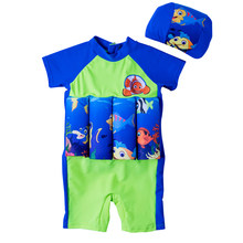 Baby Girls&Boys Float Swimsuit One-Piece Swimwear With Swimming Cap/Hat Children Zipper Back Float Suit UPF50+ Sun Suit For Kids(China)