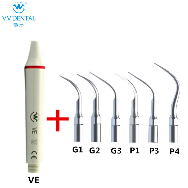 Teeth whitening ultrasonic dental scaler handpiece supragival tip and perio tip compatible with EMS WOODPECKER dental scaling machine ultrasonic scaler handpiece and dental ultrasonic scaler tip for woodpecker tooth whitening