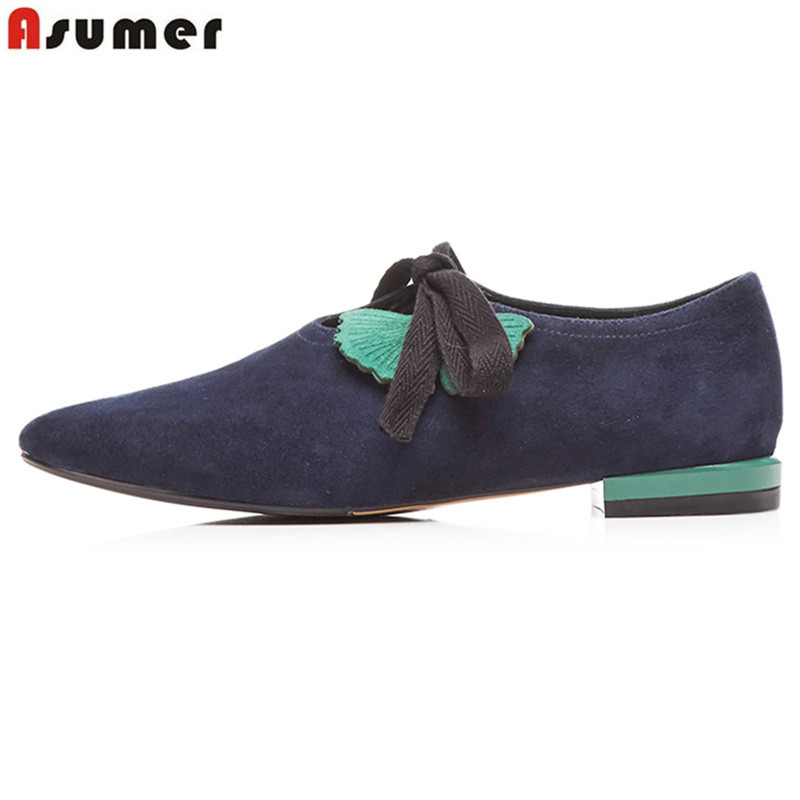 ASUMER 2019 New sheepskin   suede     leather   women flats lace up high quality spring summer ladies shoes woman casual shoes big size