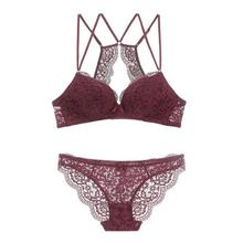 Lace Deep Plunge Double Straps Backless Bra Seamless Wireless Bra and Panty Set Women Underwear without Stones Push Up Lingerie