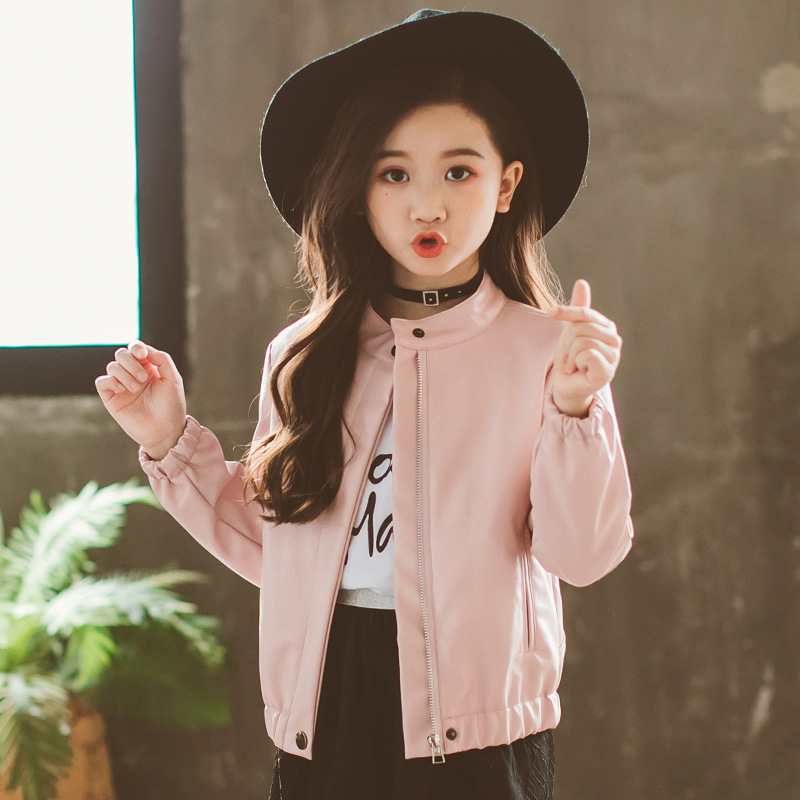 girl pu leather jackets casacas autumn 2018 baby girls coat and jacket child coats clothes for children camperas kids outerwear pu leather and corduroy spliced zip up down jacket