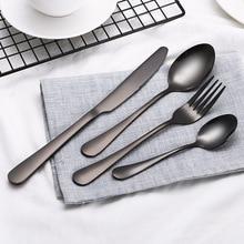 High grade Black Cutlery Set Stainless Steel Dinnerware Tableware Silverware Sets Dinner Knife and Fork Drop free shipping