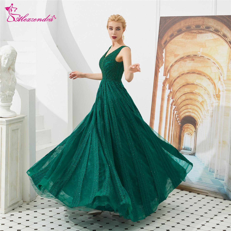 Alexzendra Double V Neck Green   Prom     Dresses   2019 Beads Lace Formal Evening   Dresses   Party   Dress