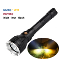 new yellow LED diving flashlight 3800Lumens CREE L2 aluminum reflector cup waterproof tactical flashlight 100M underwater diving