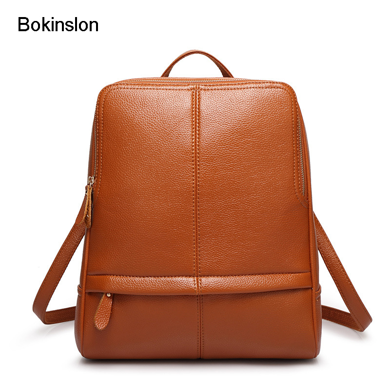 Bokinslon Woman Leather Backpack Fashion College Wind Backpack Womens Brand Casual All Match Backpack Womens Schools