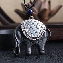 2019 Ethnic Vintage Wood Necklace Women And Men Ebony Ping An Auspicious Elephant Sweater Chain Amulet Pendant Souvenir Gifts