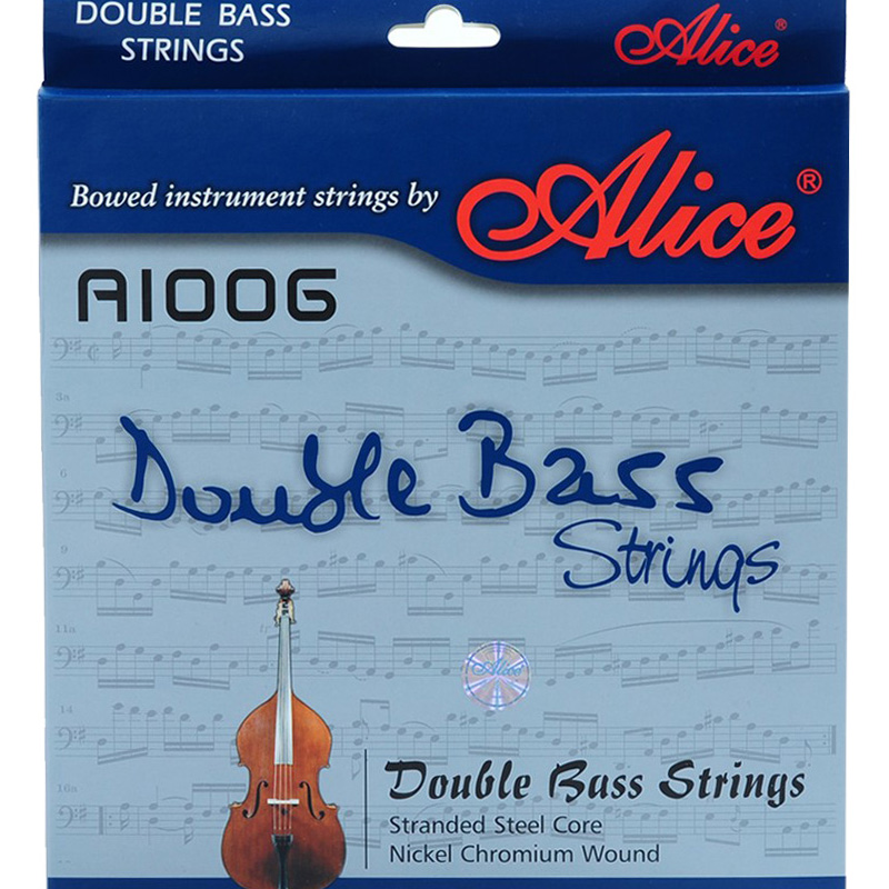 Alice Double bass Strings A1006 5 strings  Braided Steel Core Ni-Cr Winding Nickel-Plated Ball End Suitable for 3/4 double bassAlice Double bass Strings A1006 5 strings  Braided Steel Core Ni-Cr Winding Nickel-Plated Ball End Suitable for 3/4 double bass