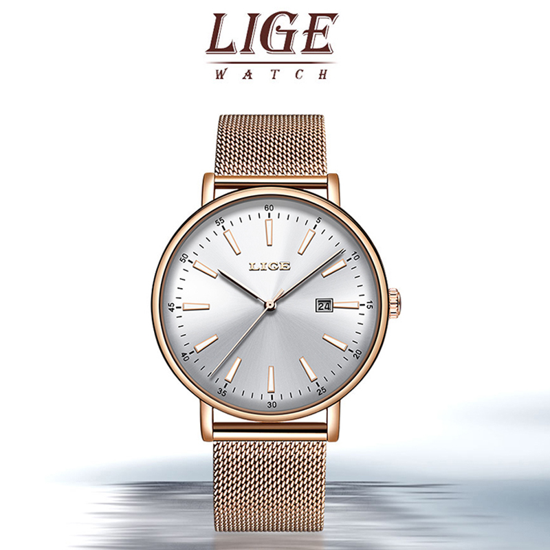 LIGE Women Watches Top Luxury Brand Quartz Watch Lady Fashion Luminous Clock Waterproof Date Girl Wristwatch Gift For Wife 2019