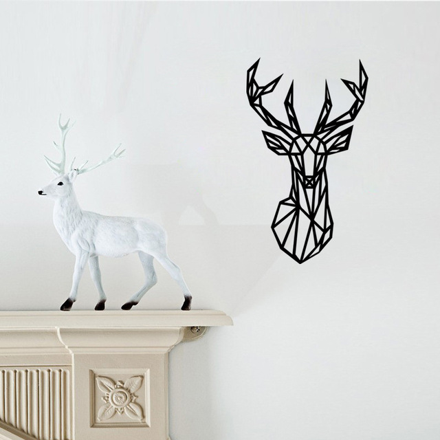 A008 Hot Removable Wallpaper Geometry Lines Deer Wall Decals Stickers For  Bedroom Living Room Free Shipping