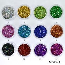 10ml/box Laser Nail Glitter Mixed Holographic Hexagone Sequins Paillettes Art Sparkles Manicure Dust,12colors