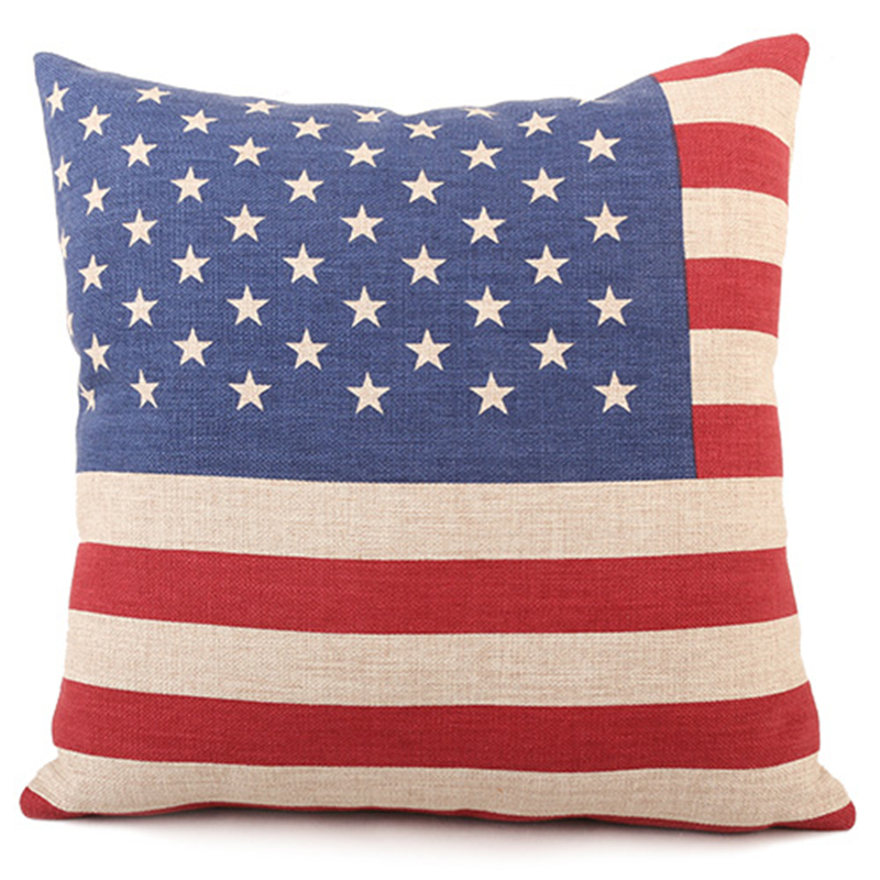 High Quality Us Uk Canada Russia National Flag Linen Cotton Cushion Cover For Sofa Car Bed Seat Pillow Case Modern Style Por In From Home